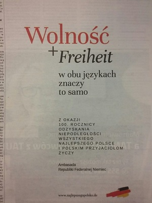 독일정부의 폴란드 독립 100주년 축하 메시지