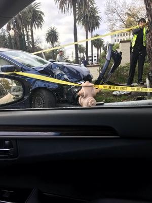 아침 출근길 빗길 교통사고